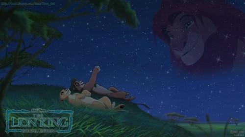 TLK Kovu and Kiara look at Simba stars night 바탕화면 HD