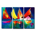 The sailboats Oil Painting - Set of 3 - Free Shipping