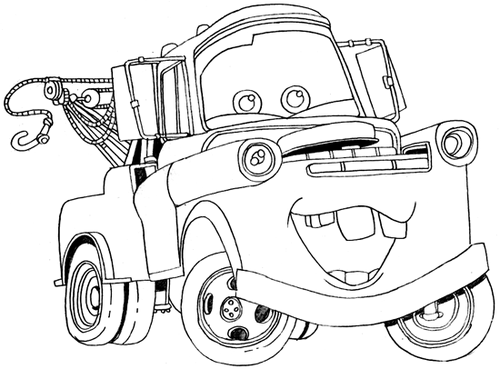 Tow Mater Coloring Page - mater-the-tow-truck Fan Art