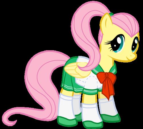 fluttershy in school uniform