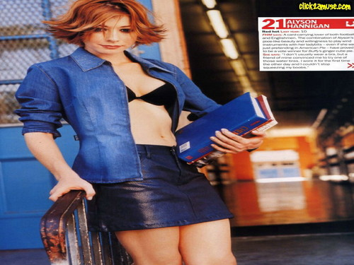 Alyson Hannigan kertas dinding probably with bare legs, hosiery, and a hip boot entitled Alyson Hannigan