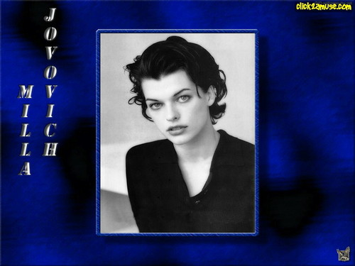 밀라 요보비치 바탕화면 possibly with a sign and a portrait titled Milla Jovovich