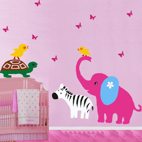 A Small Animal Paradise слон черепаха Chicken and зебра Стена Sticker