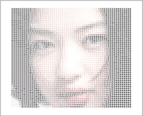ASCII Art Portrait from http://www.neublack.com/art-design/ascii%E2%80%93o%E2%80%93matic/
