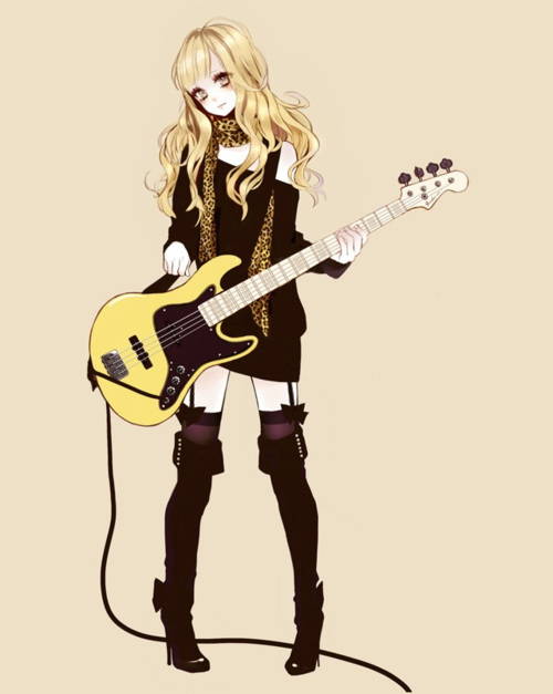 Anime rock girl with guitar