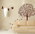 Autumn Season árbol With Flying Birds and Falling Leaves muro Stickers
