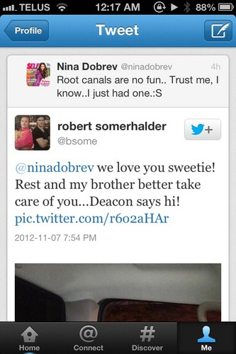 Bob Somerhalder tweets at Nina about Ian