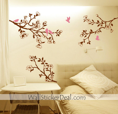 Branch cerise Blossom Birds mur Sticker