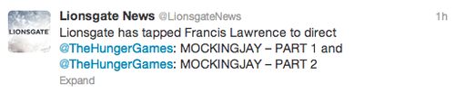 CONFIRMED: Francis Lawrence to Direct Mockingjay Films