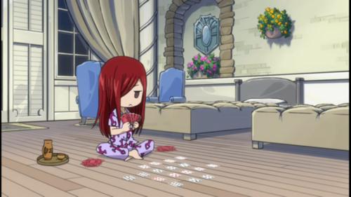 Chibi Erza playing cards <3333