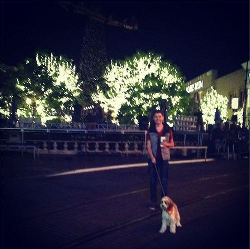 Damian walking Hannah's dog Teddy
