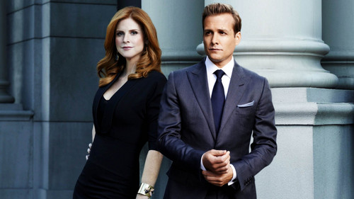 Suits wallpaper containing a business suit, a suit, and a well dressed person titled Donna & Harvey