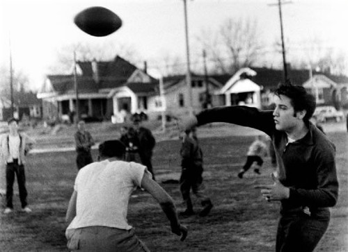 Elvis plays football, December 27, 1956.