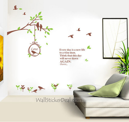 Every día Is A New Life To A Wise Man Birds on Branch muro Decals
