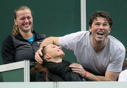 Funny Kvitova and Jagr laughing