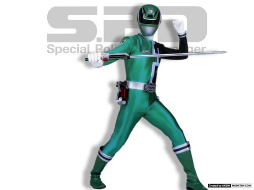 The Power Rangers karatasi la kupamba ukuta probably with a hip boot called GREEN RANGER SPD