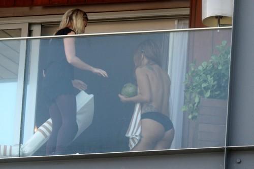 Gaga at her hotel in Rio de Janeiro