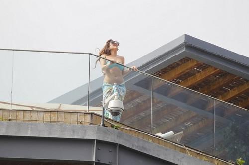 Gaga at the balcony of her hotel in Rio de Janeiro