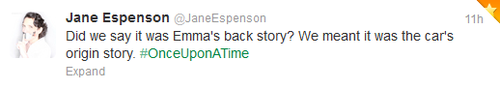 Jane Espenson (OUAT Writer) Tweet about 2x06 Tallahassee