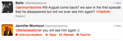 Jennifer Morrison (Emma) Answer Tweet about August