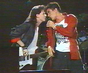 John Taylor and Simon Le Bon(Duran Duran) at Live Aid 1985