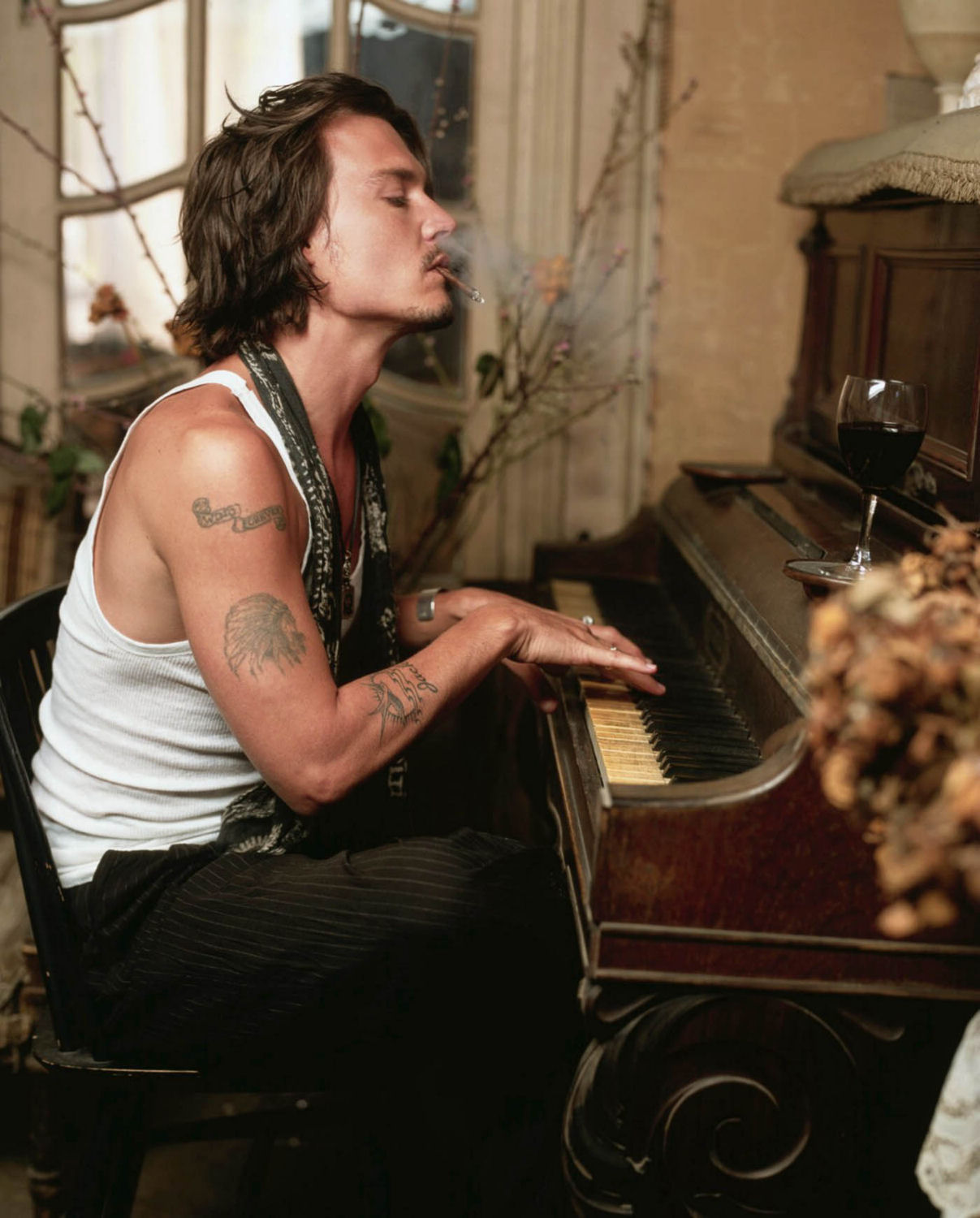 Johnny Depp Playing Piano