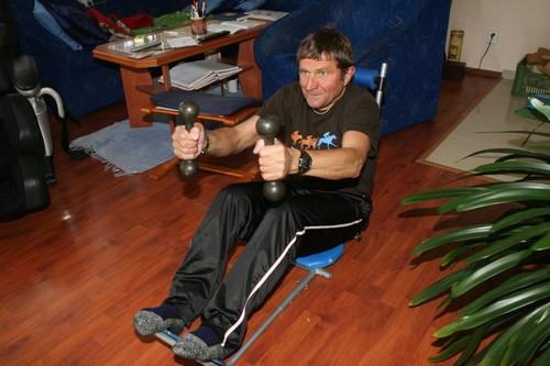 Josef Vana strengthens with dumbbells 2