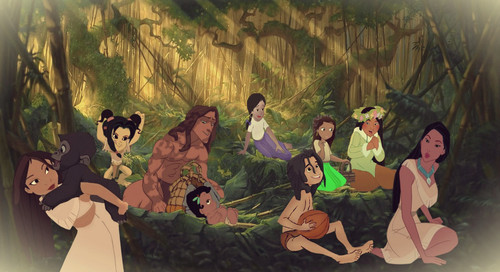 disney crossover wallpaper possibly with anime titled Jungle Family