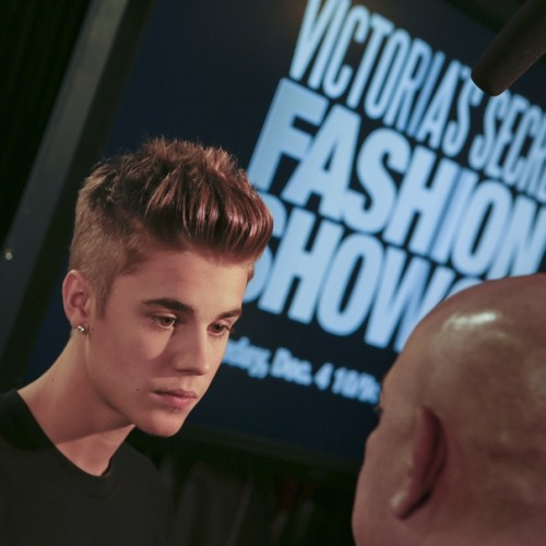 Justin Bieber backstage at the 2012 Victoria's Secret Fashion Show.
