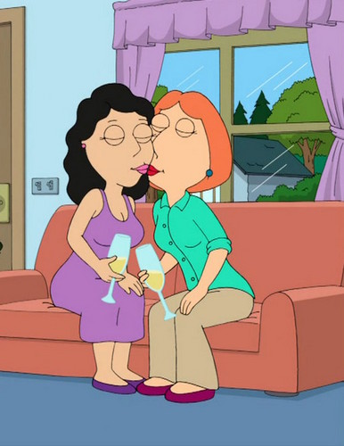 Family Guy achtergrond with anime titled Lois and Bonnie kiss 2