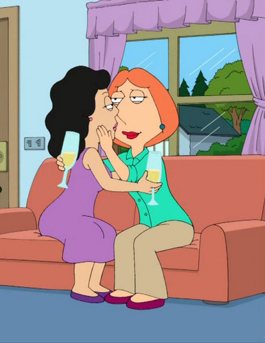 Les Griffin karatasi la kupamba ukuta containing anime entitled Lois and Bonnie kiss 4