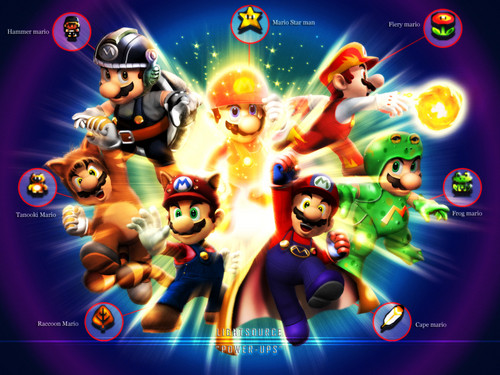 Super Mario Bros. wallpaper with anime called Mario power ups