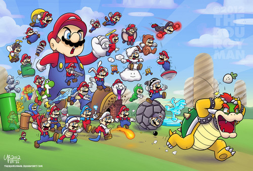 Super Mario Bros. wallpaper possibly containing anime called Mario's make Bowser run away