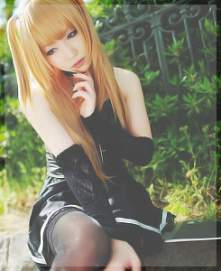 Anime wallpaper probably with bare legs, a cocktail dress, and a hip boot called Misa Cosplay