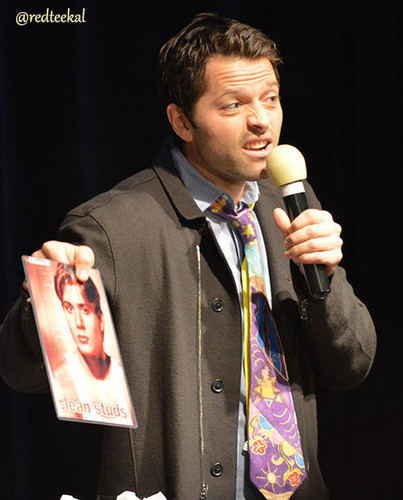 Misha with old pics of Jensen