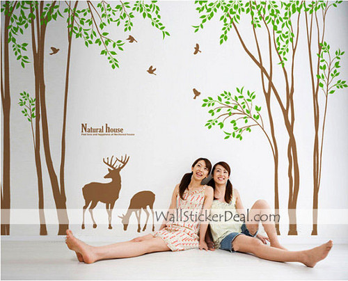 Natural House mti and Deers ukuta Sticker