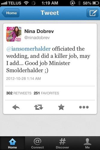 Nina tweets at Ian