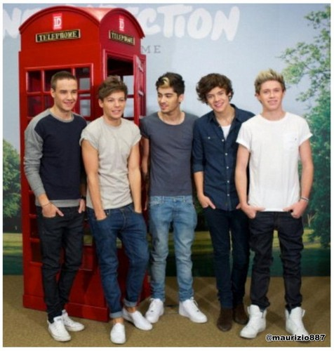 One Direction پیپر وال probably with a telephone booth, a sign, and a سٹریٹ, گلی titled One Direction 'Take Me Home' 2012.