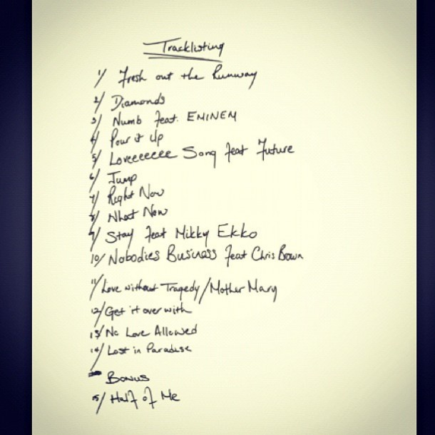 """রিহানা ACTUAL """"Unapologetic"""" tracklist"""