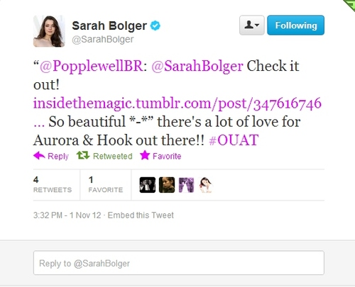 Sarah Bolger (Aurora) Tweet About Hook/Aurora Fan's Gif
