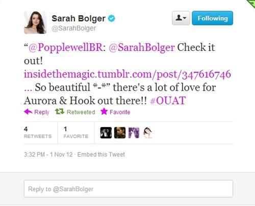 Sarah Bolger (Aurora) Tweet About Hook/Aurora Fan's Gif