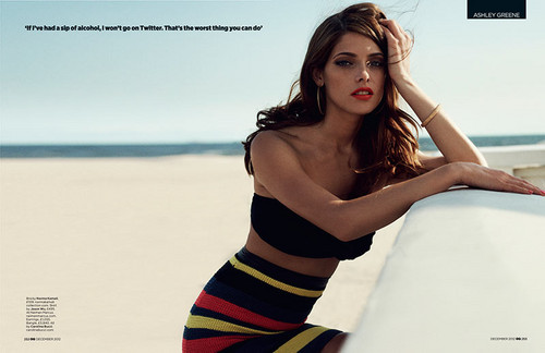 Ashley Greene wallpaper probably with a swimsuit and a leotard entitled Scans of Ashley in 'GQ' magazine, December 2012. [Interview + New photoshoot]