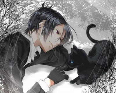 Sebastian and a Cat