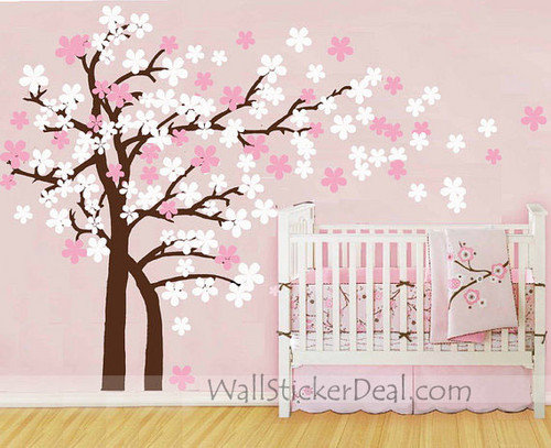 Trailing ceri, cherry Blossom pohon dinding Stickers