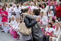 Two young women kissed in front of anti same sex marriage/adoption protesters.