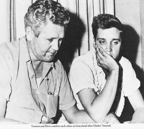 Vernon and Elvis comfort each other at Graceland after Gladys' funeral.