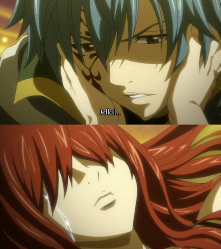 Whispering Jellal's name, then tears started to come out from Erza's eyes..