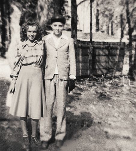 Young Elvis Presley and Norma Jeane Baker.