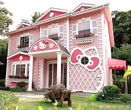 Hello Kitty wallpaper containing a tavern, a diner, and a bungalow titled cute kitty house