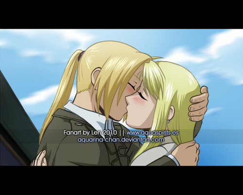 Winry and Ed Kiss http://www.fanpop.com/clubs/fullmetal-alchemist-edxwinry/images/32691985/title/winry-ed-kiss-photo